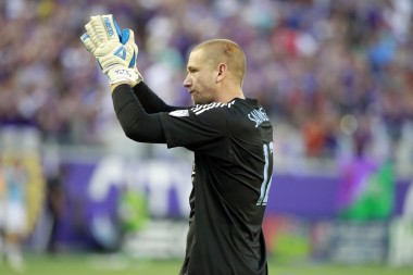 Orlando City FC Goalie Josh Saunders almost knocked himself out protecting the goal in the home opener. Look closely, people. That's blood on his head.