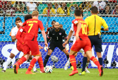 Jul 1, 2014; Salvador, BRAZIL; United States goalkeeper Tim Howard (1) defends the goal in the second half against Belgium during the round of sixteen match in the 2014 World Cup at Arena Fonte Nova. Belgium defeated USA 2-1 in overtime. Mandatory Credit: Mark J. Rebilas-USA TODAY Sports
