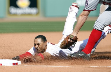 Betts slides into third after stealing two bases on the same pitch -- he scored on the next pitch