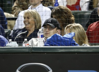 Manziel takes in a Rangers game in Texas on Tuesday after his release from rehab