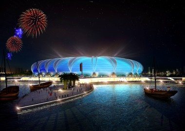 DOHA, QATAR - UNDATED:   In this handout image supplied by Qatar 2022  The Doha Port stadium is pictured in this artists impression as Qatar 2022 World Cup bid unveils it's stadiums on September 16, 2010 in Doha, Qatar. The architecture of the stadium references its location by creating a shape reminiscent of a marine animal.  (Photo by Qatar 2022 via Getty Images)