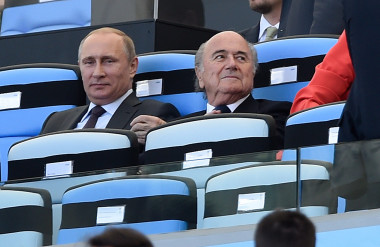 Sepp Blatter with Russian President Vladimir Putin. Nothing to see here, citizen. Move along.