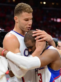 Blake Griffin and Chris Paul celebrate the biggest win in Clippers history