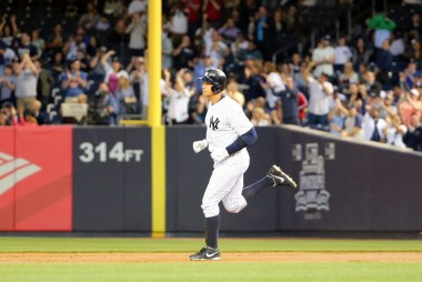 A-Rod rounding the bases at Yankee Stadium after jacking no. 661