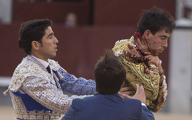 Mandatory Credit: Photo by DYDPPA/REX Shutterstock (4774952a)  Bullfighter Jimenez Fortes is gored in the neck  San Isidro Bullfight Festival, Madrid, Spain - 14 May 2015