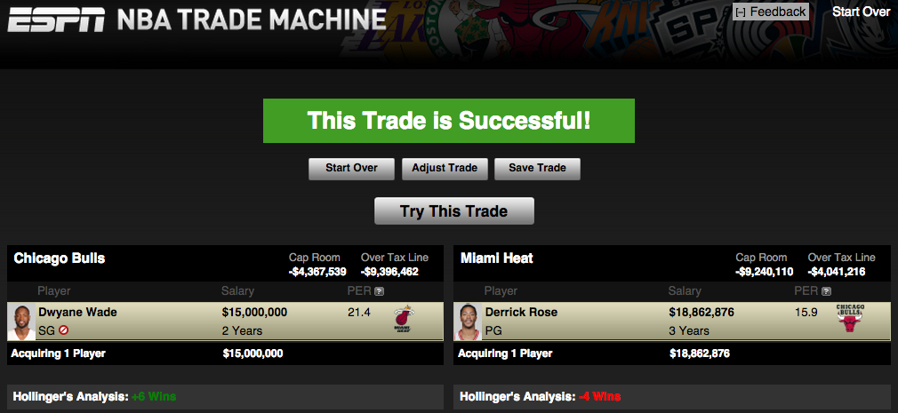 *If Wade opts out of contract this would need to be a sign and trade*