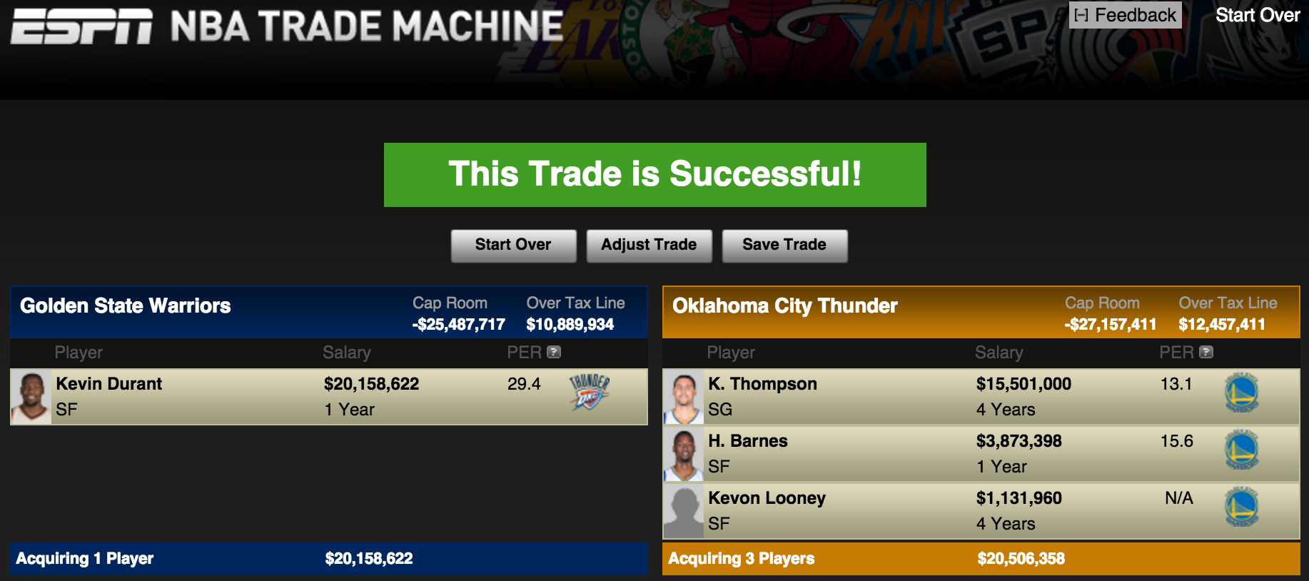 what if the thunder traded kevin durant to the warriors