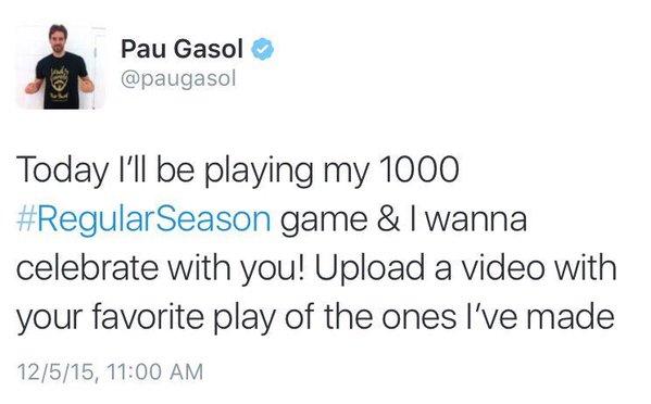 Pau Gasol Tweet