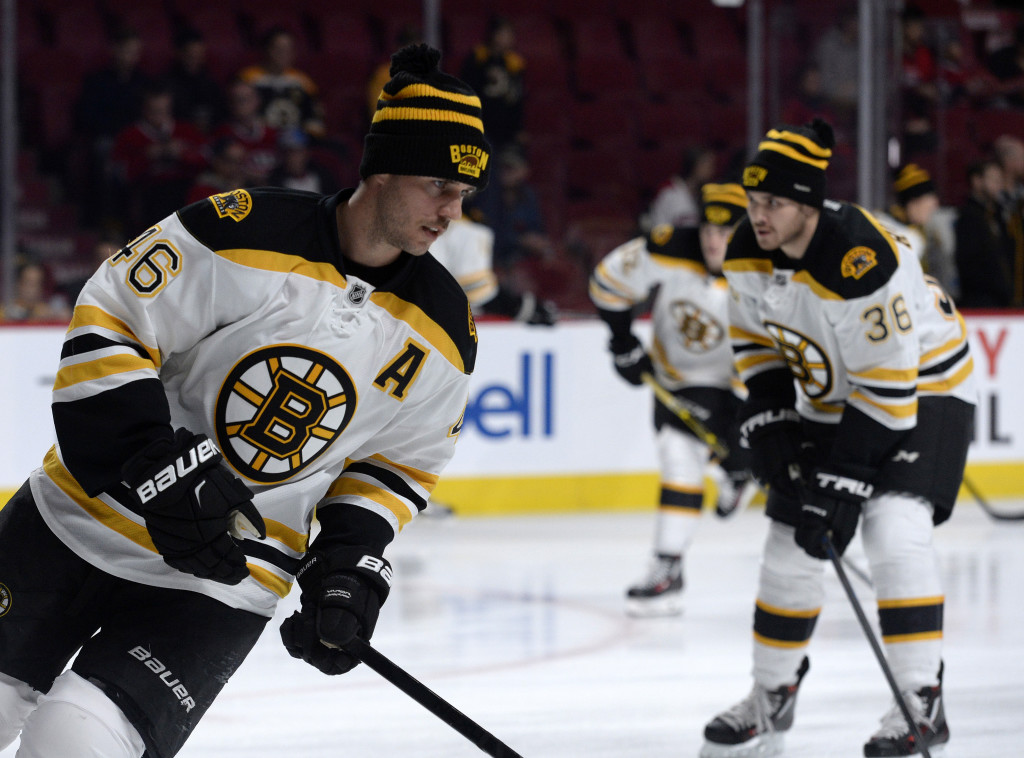 Nov 7, 2015; Montreal, Quebec, CAN; Boston Bruins forward David Krejci (46) skates on the ice during warmups prior to the game against the Montreal Canadiens at the Bell Centre. Mandatory Credit: Eric Bolte-USA TODAY Sports