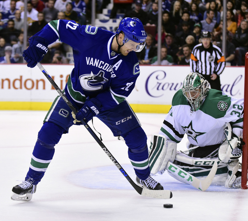Dec 3, 2015; Vancouver, British Columbia, CAN; Vancouver Canucks forward Daniel Sedin (22) moves the puck against Dallas Stars goaltender Kari Lehtonen (32) during the second period at Rogers Arena. Mandatory Credit: Anne-Marie Sorvin-USA TODAY Sports