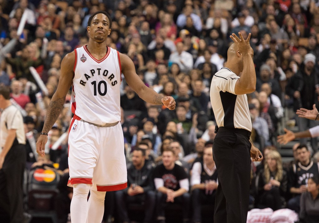 Jan 1, 2016; Toronto, Ontario, CAN; Toronto Raptors guard DeMar DeRozan (10) reacts to a call by the official during the third quarter in a game against the Charlotte Hornets at Air Canada Centre. The Toronto Raptors won 104-94. Mandatory Credit: Nick Turchiaro-USA TODAY Sports