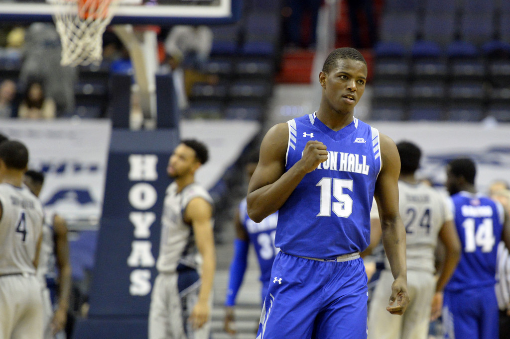 Feb 17, 2016; Washington, DC, USA; Seton Hall Pirates guard Isaiah Whitehead (15) reacts after making a three point shot during the second half against the Georgetown Hoyas at Verizon Center. Seton Hall Pirates defeated Georgetown Hoyas 74-62. Mandatory Credit: Tommy Gilligan-USA TODAY Sports