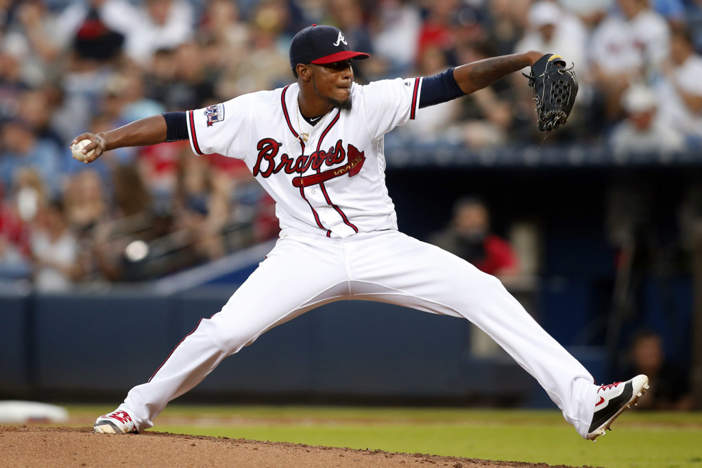 May 24, 2016; Atlanta, GA, USA; Atlanta Braves starting pitcher Julio Teheran (49) throws a pitch against the Milwaukee Brewers in the fourth inning at Turner Field. Mandatory Credit: Brett Davis-USA TODAY Sports