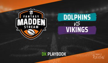 Madden Stream: Dolphins vs. Vikings DraftKings Showdown Strategies, Depth Charts and Captain's Picks